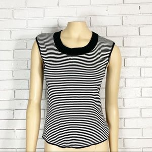St. John Women's Black and White Striped Knit Top